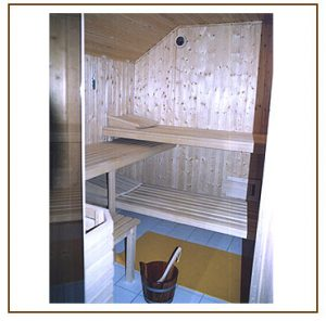 Sauna innen, räumlich angepasst