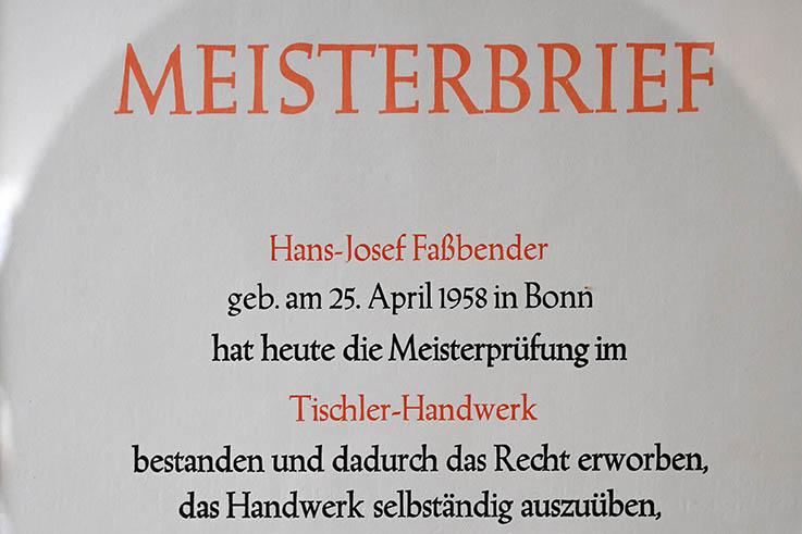 Meisterbrief Hans Josef Fassbender